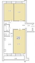 продам 3х ком. квартиру 90м2 в новостройке